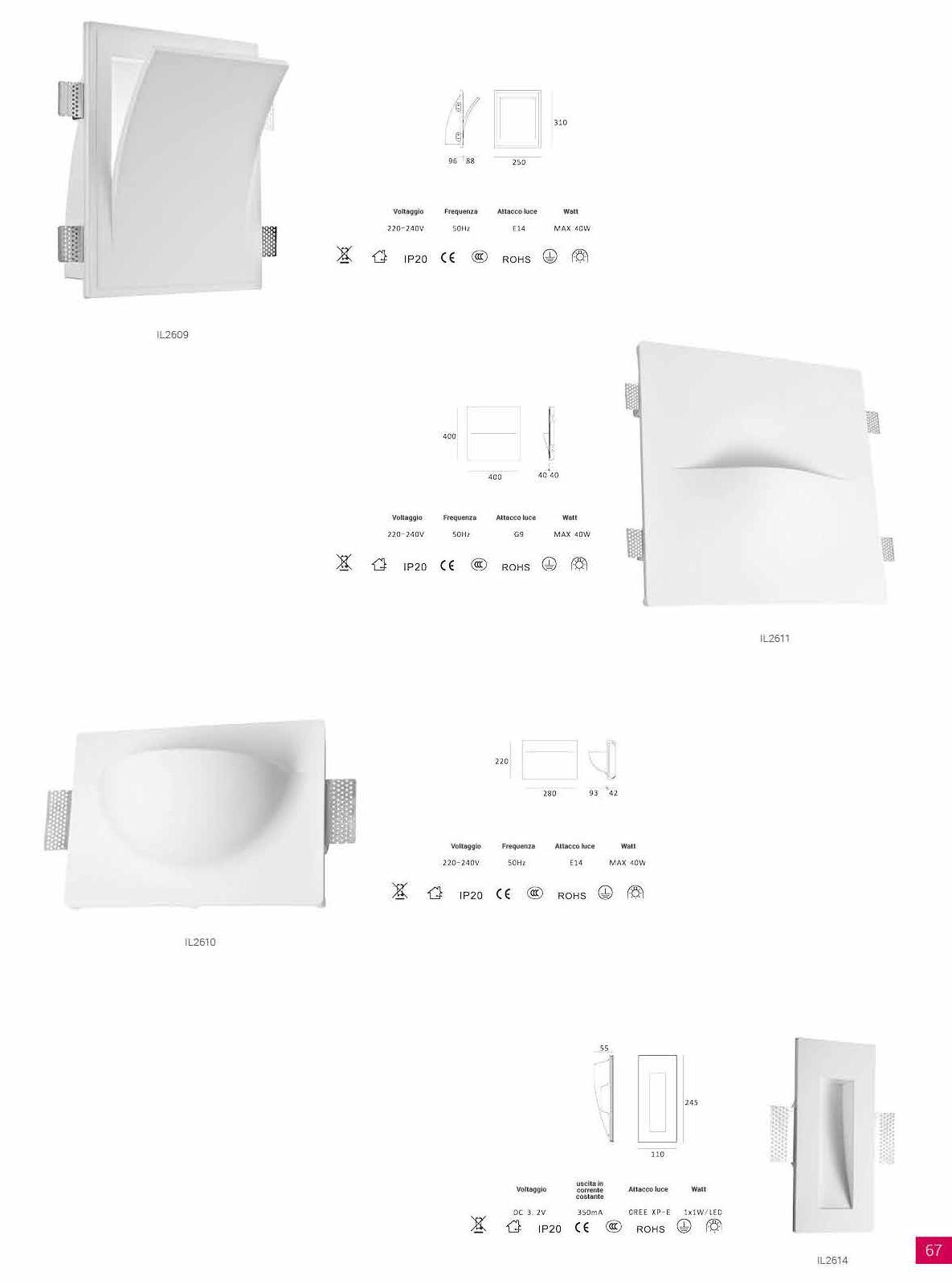 Faretti Incasso Di Gesso teykos - diffusori di luce in gesso - l'arte del decoro